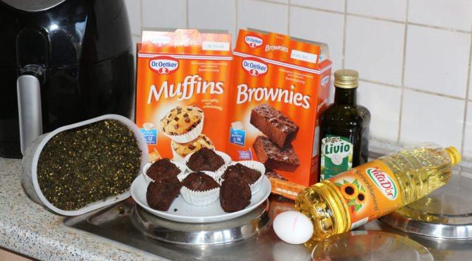 Fertige Hanf Brownies vor den Backmischungen